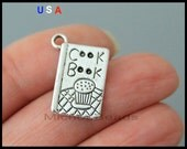 5 COOKBOOK Charm Pendant - 19mm Kitchen Chef Cooking Recipe Book Message Metal Charm - Instant Shipping - USa Wholesale Charm - 6053