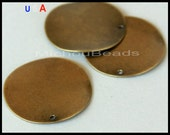 1 Wavy Disc - 26mm Flat ROUND Disc Drops - Antiqued Gold STAMPING Coin Charm / Findings/ Pendant - Instant Ship - USa Seller - 6090