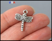 5 DRAGONFLY Charm Pendants - 20mm Antiqued Silver Dragonfly Wings Insect Dangle Pendant Charm - Instant Ship - USA - 6164