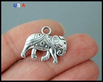 BULK 25 ELEPHANT Charm Pendants - 20mm Antiqued Silver Elephant Animal  Pendant Charm - Instant Shipping - USa Discount Charms - 6025