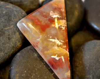 graveyard point agate cabochon.  red yellow white 22 x 29 x 6.4