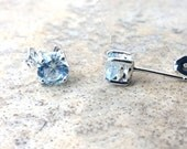 Aquamarine stud earrings in Sterling Silver --Genuine 6 mm Aquamarine-- March Birthday --Real Aquamarine stone for the Modern-Day Bride