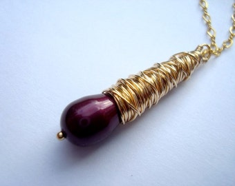 Gold pendant, burgundy wine red handmade wire wrapped pendant with Swarovski pearl and 14k gold fill wire