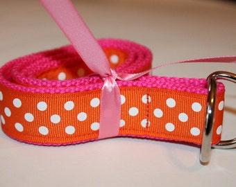 Orange and Pink Belt Girls Polka Dots Pink and Orange Belt Girls Ribbon Belt