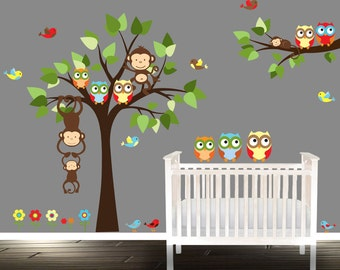 Playroom wall stickers, owl wall Decal, tree wall stickers, owl tree wall decals, boys nursery
