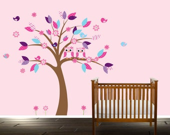 Tree Decal Girls Nursery, Wall decal for Nurseries, Owl wall decal girls room, Pink and Aqua - Nursery Decals