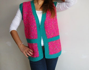 Pink and Green v neck Sweater Vest from Spiring ,Winter Fashions -   Pink Button up Knit Cardigan Vest