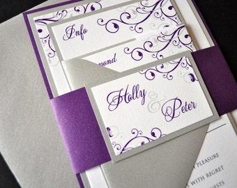 Layered Custom Wedding Invitations, Purple and Silver Invitations, Wedding Invitations, Purple Wedding