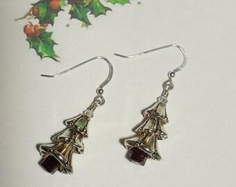 Festive Silver Holiday Tree Earrings