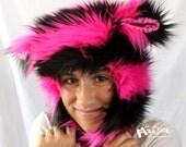 """Fuzzy Monster Aviator hat, """"Pink n Black Stripes"""" Plushie, hot pink & black, pink polkadot lining, earflap hat,  raverwear"""