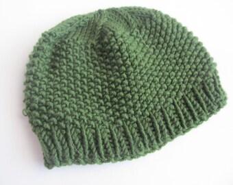 Baby's Hat, Green Handknit Wool Beanie