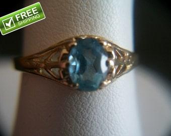 Edwardian Style 14k Gold Filigree Setting .51ctw Blue Topaz Ring Size 6.5