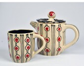 Ceramic Pottery Teapot with matching mug, Wheel thrown teapot with cup, Carnival Pattern Tea Set