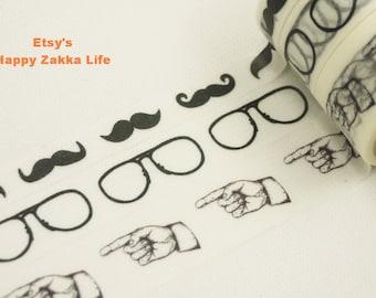 Japanese Washi Masking Tape Set - Moustache Glasses Hand - 10mm, 15mm & 20mm wide - 5.5 Yards (each roll) - 3 rolls