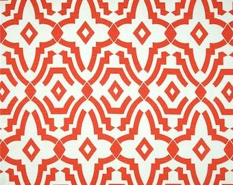Lava Orange Chevelle Geometric Curtains. Pair of Two Window Drapes. Orange Modern Curtains. Drapery.