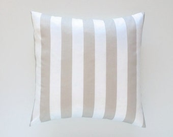 IMPERFECT 60% Off Clearance Decorative Pillow Cover - Sold As Is - Taupe Stripes Pillow Cover. 15x25 Inch Light Tan Throw Pillow