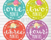 Monthly Baby Stickers Baby Girl Month Stickers Baby Shower Gift Monthly Photo Bodysuit Arrow Tribal Flowers (Solid Arrows Floral Bright)