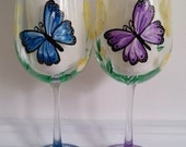 Blue and Purple butterflies hand painted wine glasses
