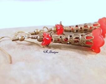 SALE Victorian Style Earrings, Red Flower Beads, Brass, Dangle Pierced Earrings. OOAK Handmade Earrings. CKDesigns.us