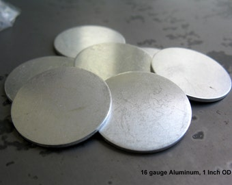 16G Aluminum Disc, 1 Inch Diameter, Soft Strike Aluminum Stamping Blanks, You get 6, Ready to Ship!