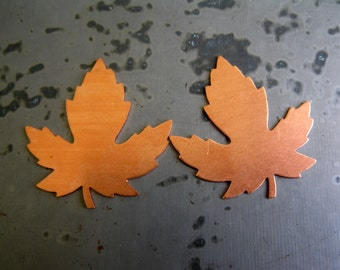 Maple Leaf Copper Stamping Blank, set of 2, 24 gauge, Ready to Ship!