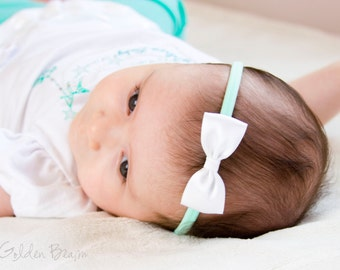 Mint and White Baby Bow Headband - Flower Girl Headband - Small Satin White Bow Handmade Headband - Newborn to Adult Headband
