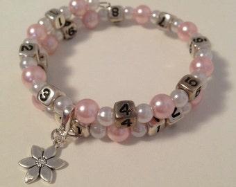 READY TO SHIP- Nursing/Breastfeeding Bracelet Light Pink and White #34