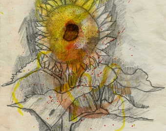 Sunflower Watercolor Sketch - Print