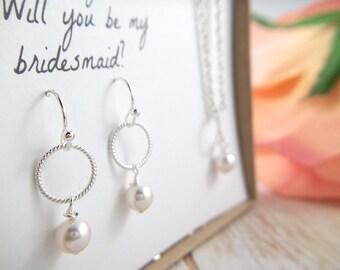 Swarovski Pearl Jewelry Set , Bridesmaid Gift Bridesmaid Jewelry Bridal Necklace Earrings Wedding Pearl