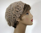 Crochet Slouchy Hat with Flower Oatmeal Crochet Cap Crochet Beige Beanie Slouchy Beret Beige Crochet Hat Light Tan Hat Oatmeal  Beanie