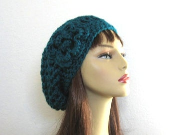 Teal Slouchy Hat with Flower Teal Slouch Beanie with Flower Aqua Crochet Cap Teal Crochet Beanie with Flower Teal knit beanie Teal Hat