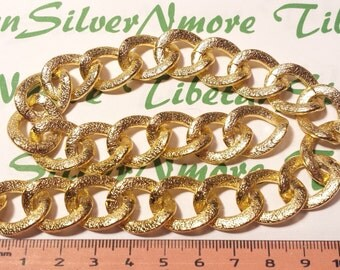 3 ft. or 36 inches 22x17mm 3mm thickness Textured finish Marina or Curb chaim Gold-plated Aluminum Chain