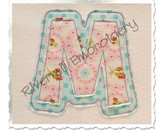 Raggy Double Applique Happy Machine Embroidery Font Monogram Alphabet - 4 Sizes