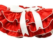 Fluffy Ruffled Polka Dot Satin Bloomers - Red & White