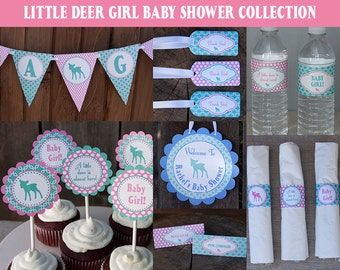 Woodland Baby Shower Decoration Collection - Deer Baby Shower - Girl Baby Shower - Pink & Turquoise - PERSONALIZED