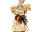 Native American Inspired  Angel Tree Topper Corn Husk  American Indian Angel Thanksgiving Angel Table Decoration