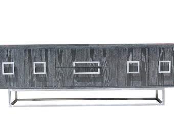 Audriana black and white cerused oak metal base credenza