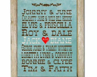 Western Famous Couples Art Print, Western Famous Couples, Country Western Wedding Print, Custom Name and Date