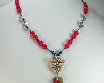 Butterfly Necklace, Boho , Leaf and Berries, Red Glass Flower Beads, Knotted Necklace,