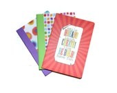 3 Colorful Blank Journals Set of Three 5 x 7 Craft Supplies Bright Color Journals Art Supplies