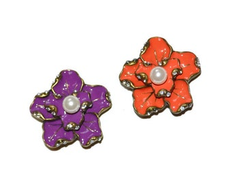 Flower Pendants Set of Two Orange and Purple Enamel Pearl Center Antique Brass Supplies Jewelry Supplies