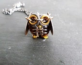 Chainmail Owl Necklace, Brown Owl Jewelry, Owl Pendant, Metal Sculpture Owl