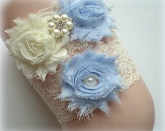Beautiful LIGHT BLUE Bridal Garter Set - Ivory Keepsake & Toss Wedding Garters - Chiffon Flower Rhinestone Garter - Something Blue