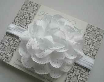 Beautiful White Eyelet  Flower on White Shimmery Elastic Headband - Newborn Baby - Photo Prop - No Slip - Baptism Christening