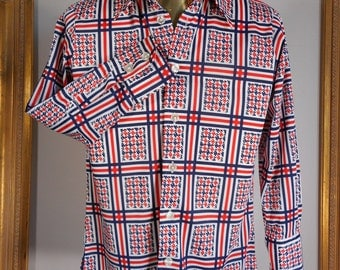Vintage 1970's Red/White & Blue Long Sleeve Shirt - Size Medium