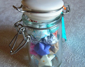 Tiny Latch Glass Jar with Porcelain Lid of Children's Affirmation Stars