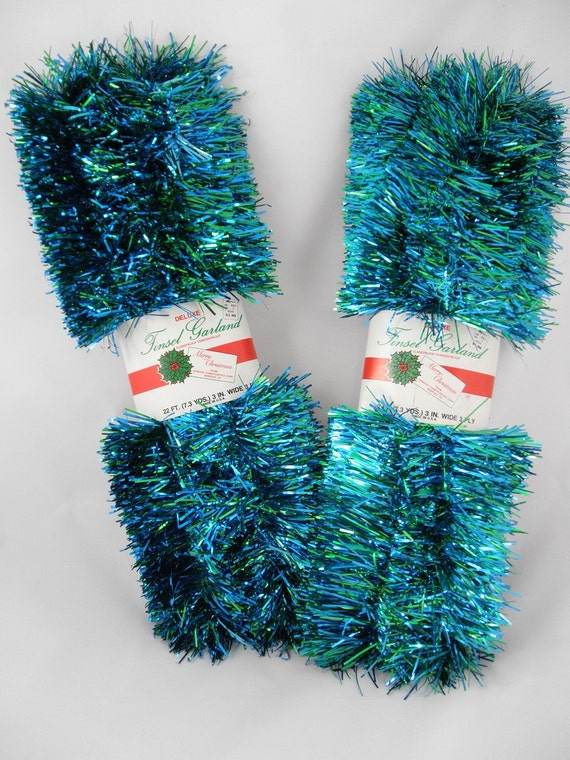Vintage tinsel garland s christmas decor kitsch