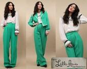 70s Vtg LiLLI ANN Grass Green Pantsuit / Tuxedo SUiT Blazer+Wide Leg Pants HiGh WAiSt Mod BOWiE-Esque PinUps Supermodel Length Tall Sm - Med