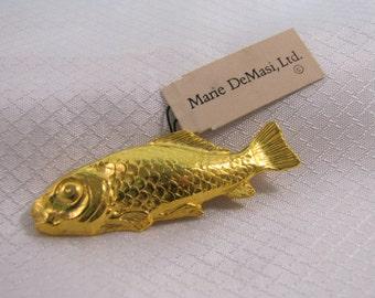 NY Designer Marie DeMasi Gold Plated Carp Brooch, NWT