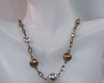 Vintage Majorie Baer SF, Mixed Metals Necklace, Sterling and Brass Necklace